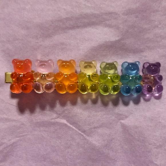 Gummy bear hair clip rainbow iridescent hair clip faux leather hair clip